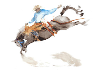 Wall Mural - Horse rodeo watercolor painting illustration isolated on white american sport wild west tradition