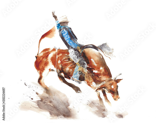 Fototapete Bull rodeo watercolor painting illustration isolated on white background american sport lifestyle tradition wild west
