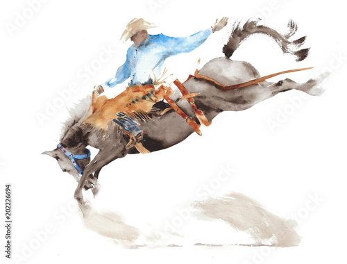 Wall mural Horse rodeo watercolor painting illustration isolated on white american sport wild west tradition