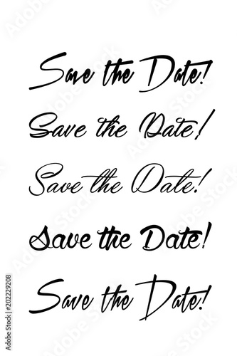 Save the date text calligraphy Vector lettering for wedding Hand