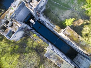 Giant unfinished concrete lock in Lesniewo Gorne - part of the Masurian Canal which was intended to connect the Great Masurian Lakes with the Baltic sea, Mazury, Poland (former East Prussia)