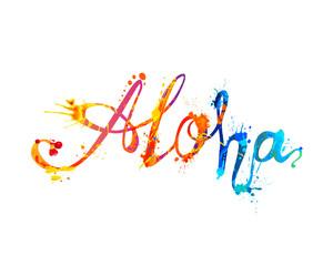 ALOHA. Hawaii word of splash paint