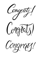 "The inscription ""Congrats!"" black and white illustration. Hand-drawing, lettering for greeting cards, posters, banners and other design."