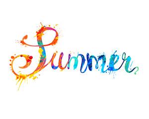 Summer. Hand written word of splash paint