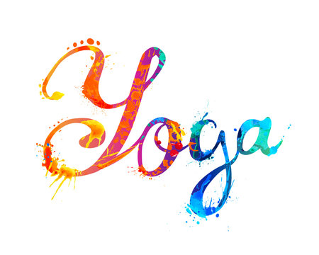 YOGA. Hand written word of splash paint