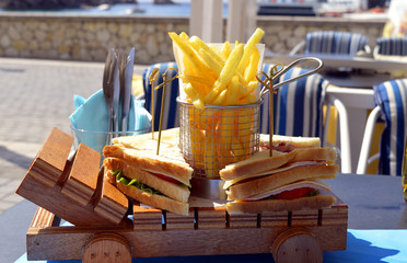 Paxos harbour club sandwich and chips