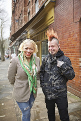 Street portrait of a white male and female punk couple