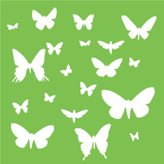 Set of butterflies on a green background