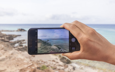 Photo to a sea landscape taken by smartphone