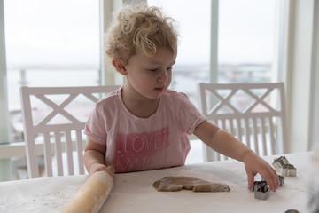 Girl making gingerbread cookies
