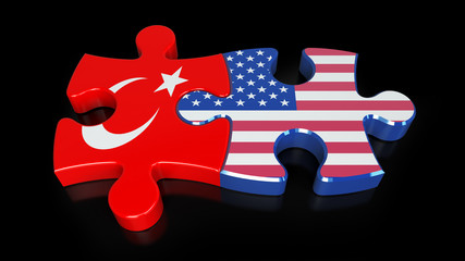 USA and Turkey flags on puzzle pieces. Political relationship concept.