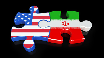 Iran and USA flags on puzzle pieces. Political relationship concept.