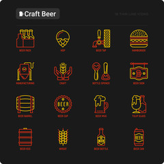 Craft beer thin line icons set related to Octoberfest: beer pack, hop, wheat, bottle opener, manufacturing, brewing, tulip glass, mag with foam, can. Modern vector illustration for black theme.
