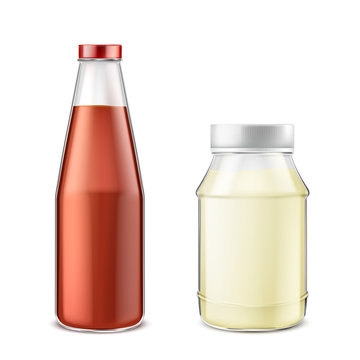 Vector realistic set of glass bottle with ketchup and jar with mayonnaise isolated on background. Natural tomato sauce and fatty mayo, condiment for eating and cooking. Mockup for package design