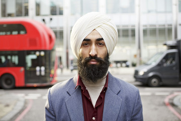 Street portrait of a Sikh businessman in London