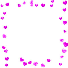 Mother's day background with pink glitter confetti. Isolated heart symbol in rose color. Postcard for mother's day background. Love theme for poster, gift certificate, banner. Women holiday