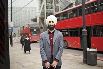 Portrait of man wearing turban