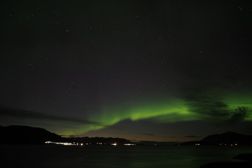Aurora borealis over the Akureyri