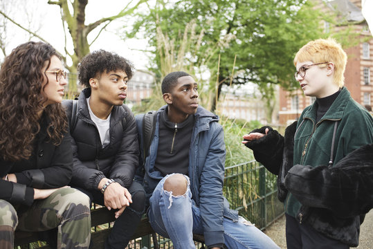 Group of teenage friends in an urban park