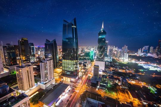 Panama City in the twilight in Panama City
