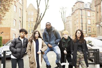 Group of teenage friends in an urban street