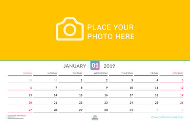 Wall calendar for January 2019. Vector design print template with place for photo. Week starts on Sunday. Landscape orientation