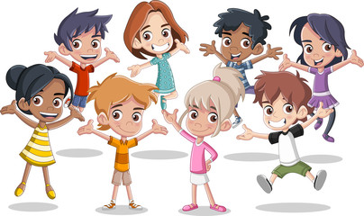 Group of happy cartoon kids jumping.