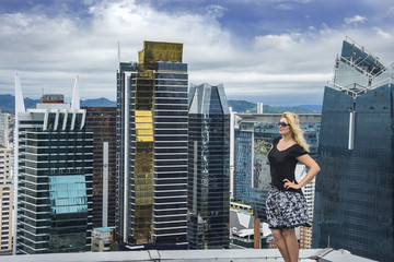 Youang women on the top of modern building in Panama City , Panama
