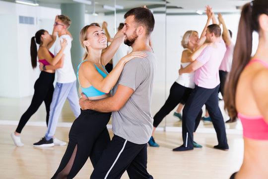 Joyful dancing pair dance  together