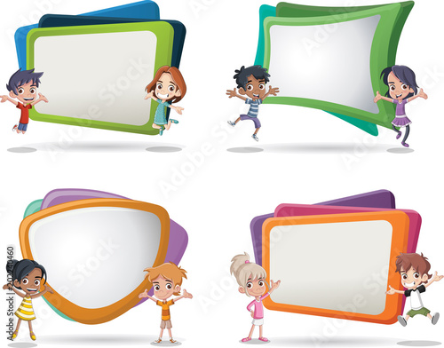 Vector banners / backgrounds with cartoon children. Design text box ...