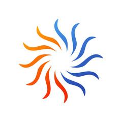 Logotipo ondas de calor y frio en color azul y naranja en fondo blanco