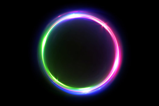 Abstract multicolor 3d illustration neon background luminous swirling Glowing circles. Black elegant. Halo around. Power isolated. Sparks particle.Space tunnel. LED color ellipse. Glint glitter.