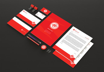 Red Branded Stationery and Accessories Mockup