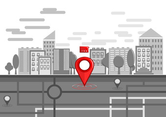 Red bright location pin on the background of a schematically drawn black and white city. City web banner navigation. Map pin on city street. Vector illustration