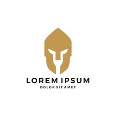 spartan helmet logo vector icon