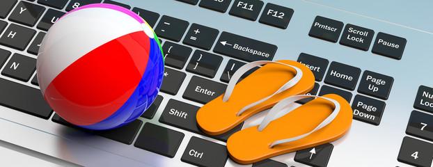 Flip flops and beach ball on computer keyboard. 3d illustration Wall mural
