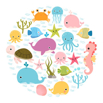 Cute colorful cartoon sea animals in circle for baby designs, kids invitations and summer greeting cards