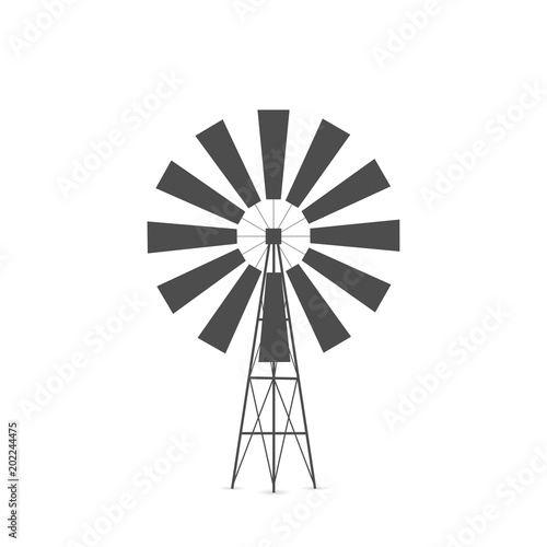 windmill silhouette illustration stock image and royalty free
