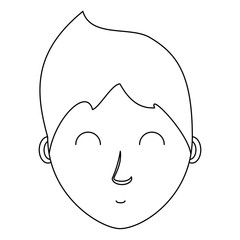 cartoon man face icon over white background, vector illustration