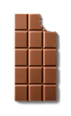 Top view of bitten milk chocolate bar. Isolated on white background