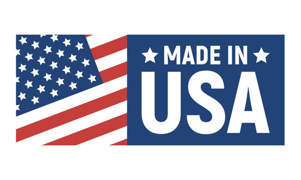 Made in USA label. American banner template. Vector illustration.