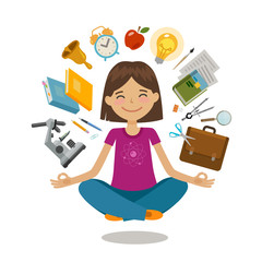 School, college concept. Funny student sitting in lotus pose. Vector illustration