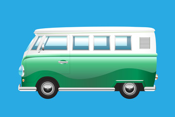 Retro summer van isolated on blue background