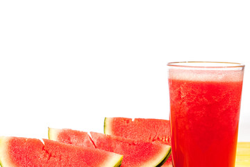 Watermelon slices and cool refreshing summer fruit smoothie drink