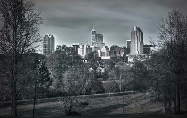 A beautoful nlack and white skyline of downtown Raleigh, NC.