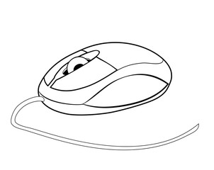 Vector illustration, isolated small computer mouse in black and white colors