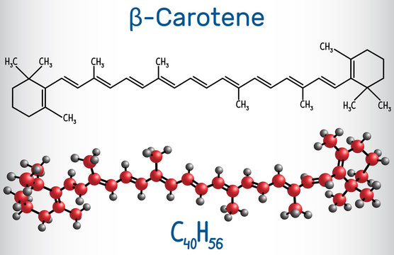 Beta Carotene, provitamin A, is an organic red-orange pigment in plants and fruits. Structural chemical formula and molecule model