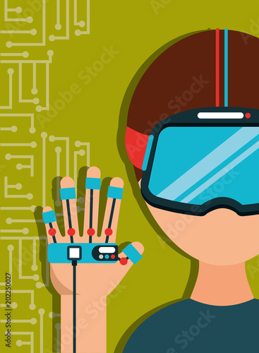 f86d55bfae03 young man with virtual reality goggles and glove control game vector  illustration