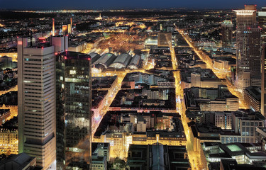 Aerial night view of Frankfurt, Germany.