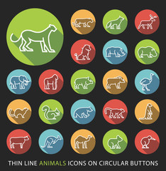 Set of Elegant Universal White Minimalistic Thin Line Animals Icons on Circular Colored Buttons on Black Background